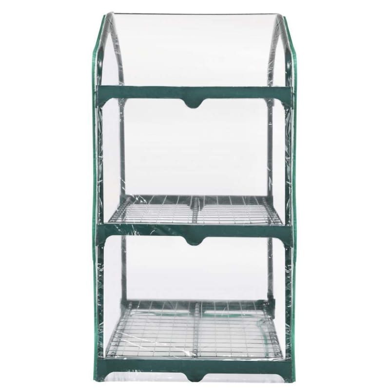 OPEN BOX Palm Springs 2-Tier Mini Greenhouse with Cover and Roll-up Zipper Door #2