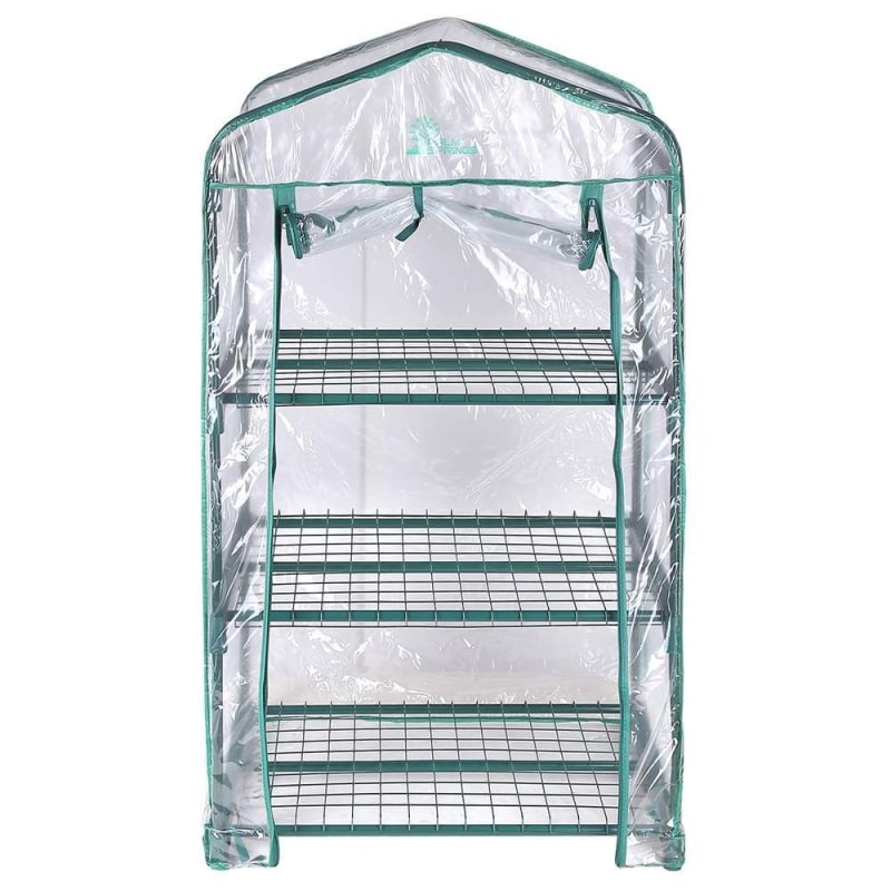 Palm Springs 3-Tier Mini Greenhouse with Cover and Roll-up Zipper Door #2