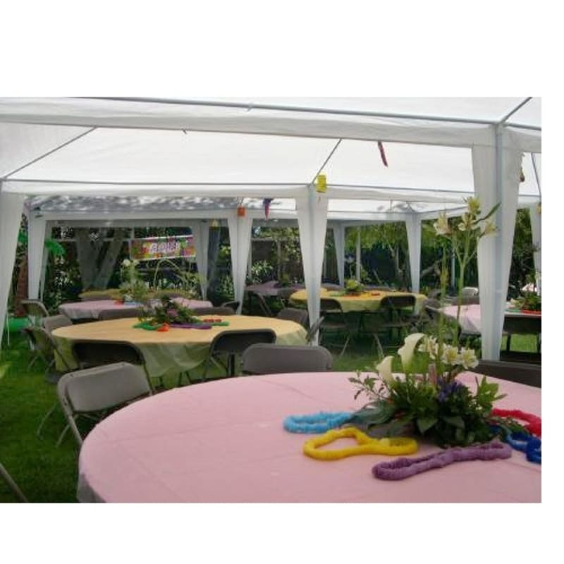 Palm Springs 10' x 20' White Canopy Party Tent with 6 Sidewalls #1