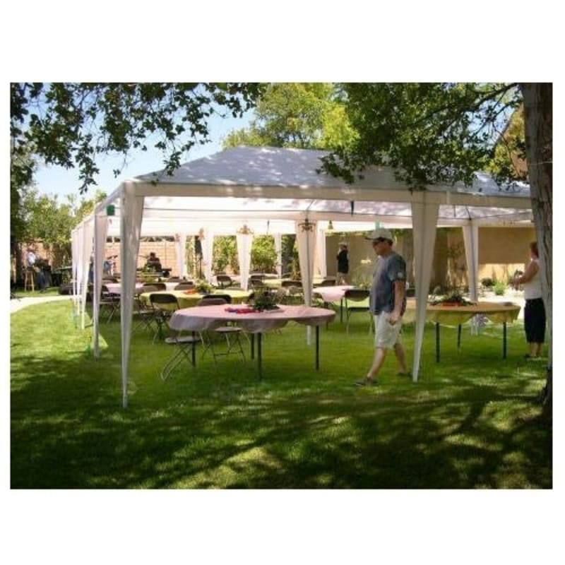 Palm Springs 10' x 20' White Canopy Party Tent with 6 Sidewalls #2