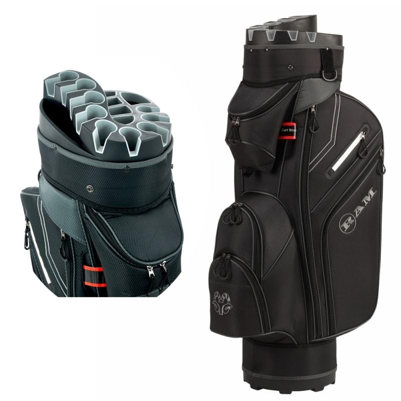 Ram Golf Premium Cart Bag with 14 Way Molded Organizer Divider Top Black Silver
