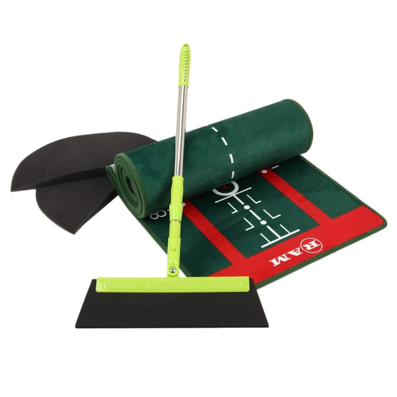 Ram Golf PROFESSIONAL Dual Grain Putting Mat with Distance Markers and Slope #