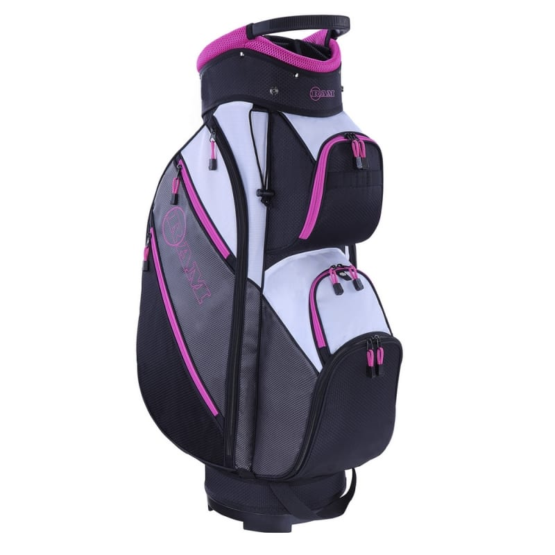 Ram Golf Lightweight Ladies Cart Bag with 14 Way Dividers Top Grey/Pink #1