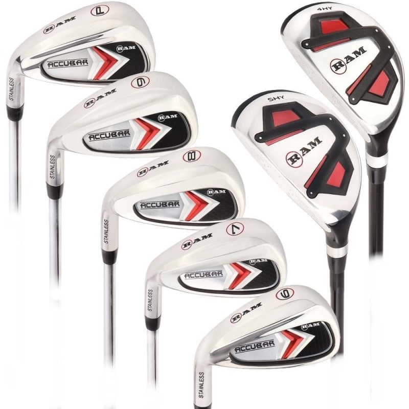 Ram Golf Accubar Mens Clubs Iron Set 6-7-8-9-PW with Hybrids 24° and 27° - Lefty