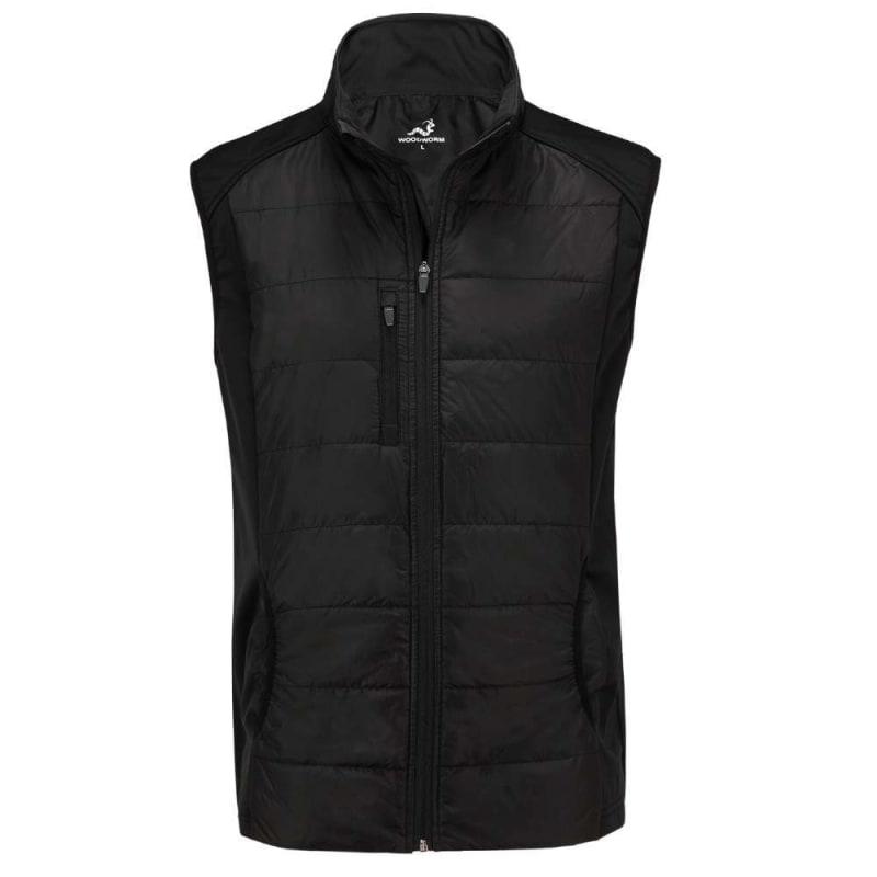 Woodworm Full Zip Padded Mens Gilet Golf Vest - Windproof - Black