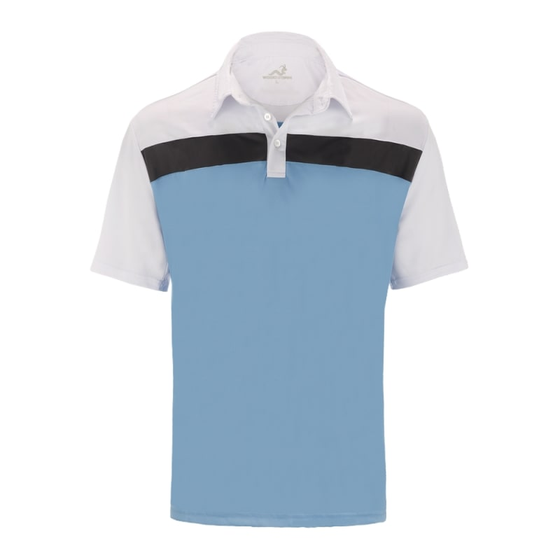 Woodworm Golf Shirts - 3 Pack - Tour Panel Polos - Mens - Blue