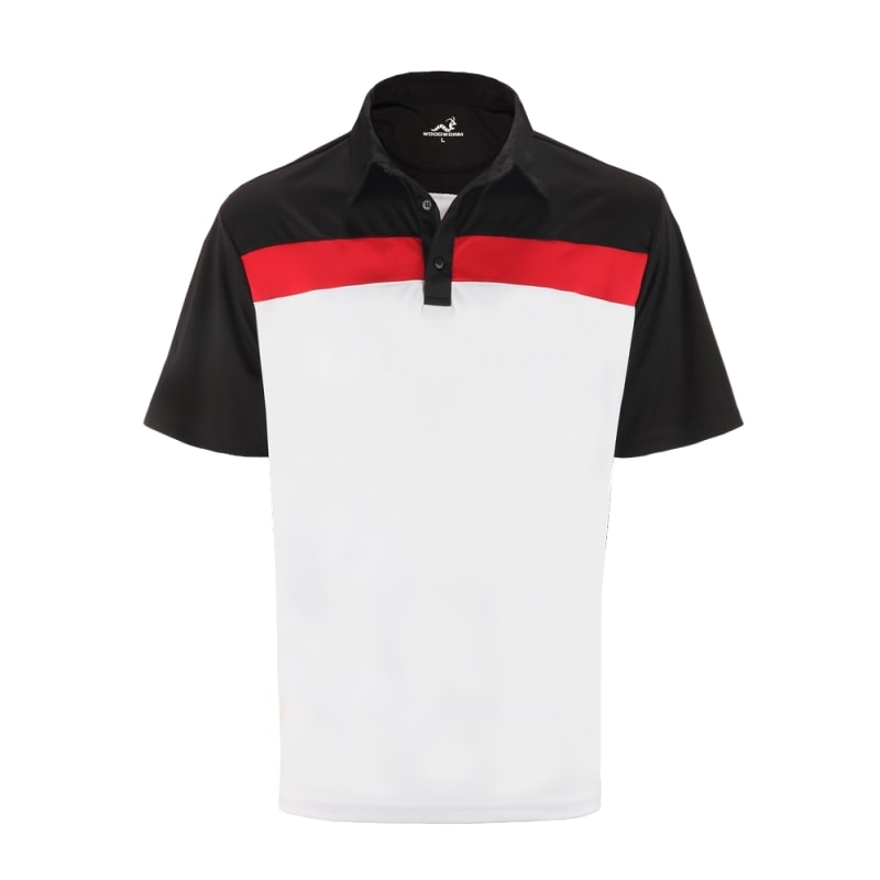 Woodworm Golf Shirts - 3 Pack - Tour Panel Polos - Mens - White