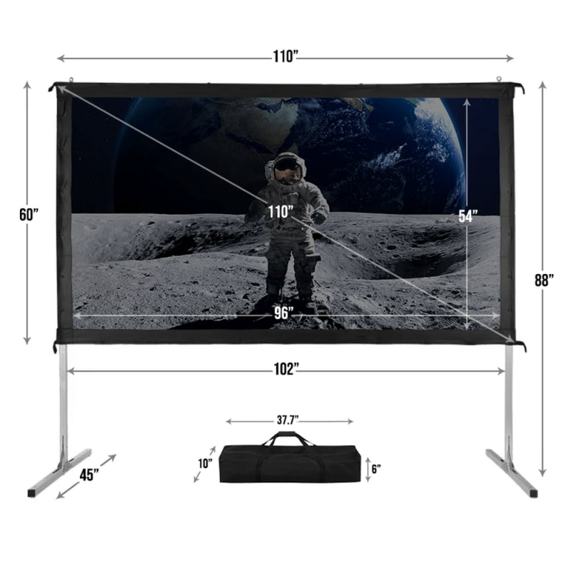 """Homegear Fast Fold Portable 110"""" Projector Screen 16:9 HD for Indoor/Outdoor Use #4"""