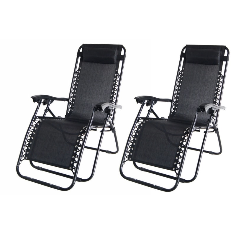 2x Palm Springs Folding Zero Gravity Recliner Chair  #1