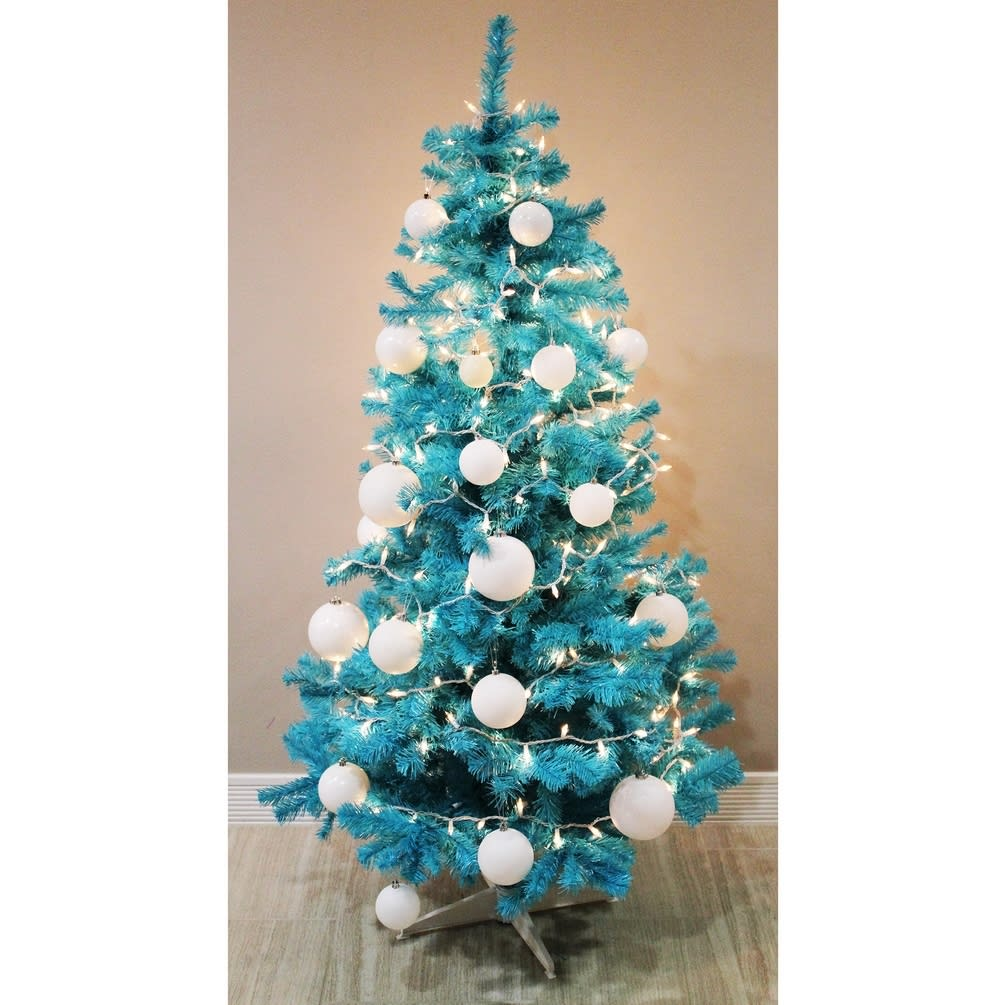 7ft Christmas Tree Tesco: Homegear 6ft Turquoise Artificial Christmas Tree Just £34