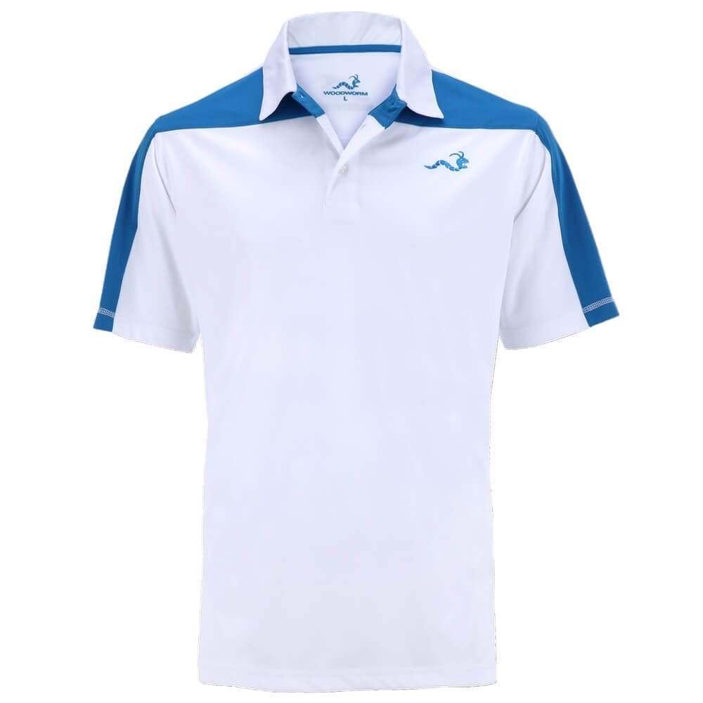 Woodworm Golf Block Panel Golf Polo Shirt - White/Blue