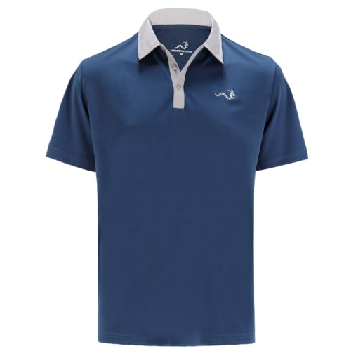 Woodworm Solid Tech Golf Polo Shirts - Navy/Grey