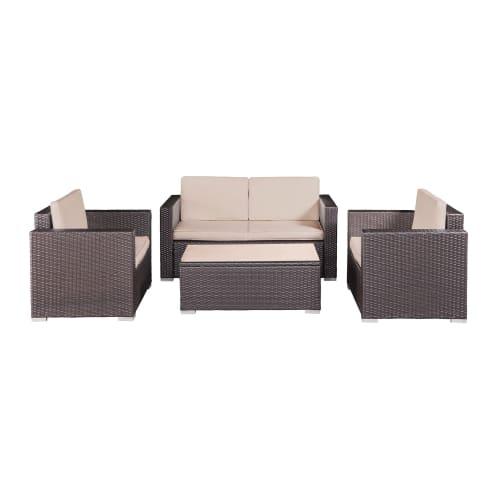OPEN BOX Palm Springs Modern 4 Piece Furniture Wicker Patio Set