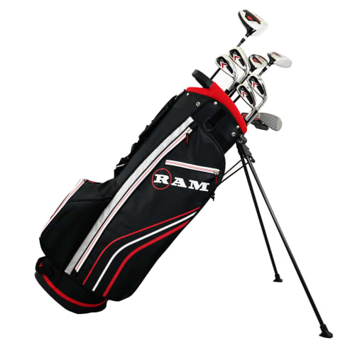 Ram Golf Accubar 12pc Golf Clubs Set - Graphite Shafted Woods, Steel Shafted Irons - Mens Left Hand