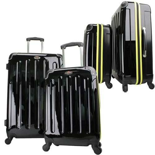 OPEN BOX Swiss Case 4W 2pc Suitcase Set Black / Yellow