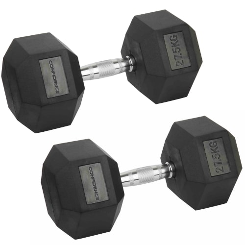Confidence Fitness 27.5kg Rubber Hex Dumbbell Set