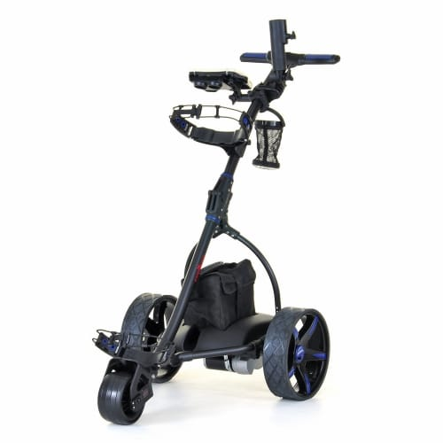 Caddymatic V2 Electric Golf Trolley / Cart With 18 Hole battery With Auto-Distance Functionality Blue