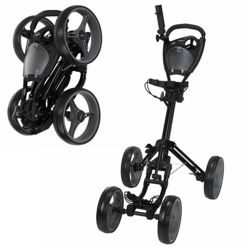 Caddymatic Golf Quad 4-Wheel Folding Golf Pull / Push Trolley Black