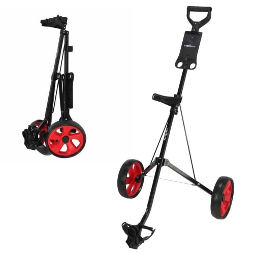 OPEN BOX Caddymatic Golf i-Trac 2 Wheel Folding Golf Cart Black/Red