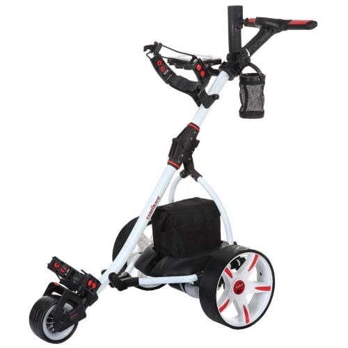 Caddymatic V2 Electric Golf Trolley / Cart With 18 Hole battery With Auto-Distance Functionality White
