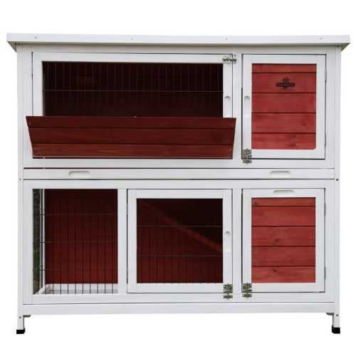 Confidenec Pet Rabbit Hutch, 4ft 2-Story with Ramp Wooden Hutch, Red/White