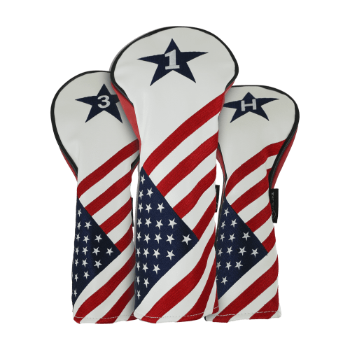 Ram Golf USA Stars and Stripes PU Leather Headcover Set For Driver, #3 Wood, Hybrid