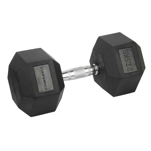 Confidence Fitness 27.5kg Rubber Hex Dumbbell