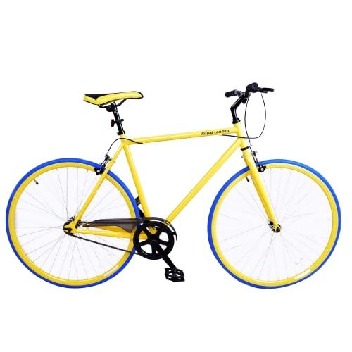 "Royal London 22"" Fixie Fixed Gear Single Speed Bike - Yellow / Blue"