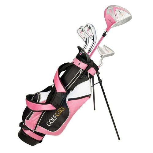 Golf Girl Junior Girls Golf Set V3 with Pink Clubs and Bag, Left Hand
