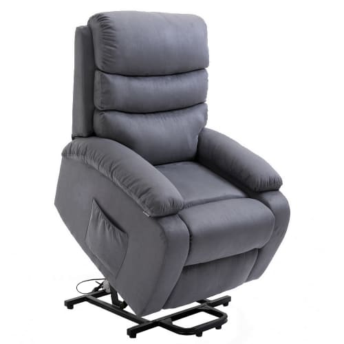 Homegear 2-Remote Microfiber Power Lift Electric Recliner Chair V2 with Massage, Heat and Vibration with Remote - Charcoal