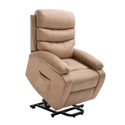 Homegear Microfibre Power Lift Electric Riser Recliner Chair with Massage, Heat and Vibration with Remote - Taupe