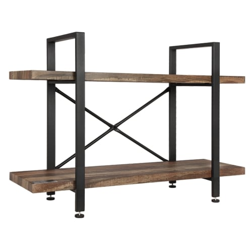 Homegear Furniture Vintage Oak Style 2-Tier Bookcase - Wood Shelves with Black Iron Frame
