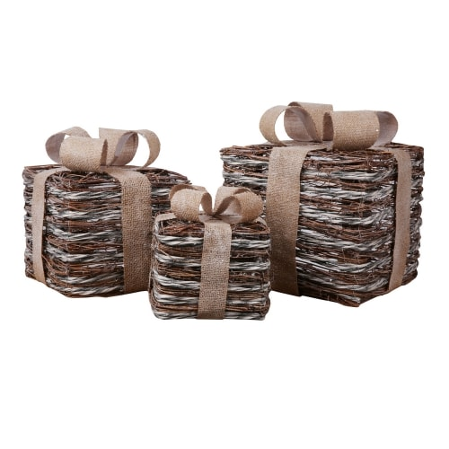 Homegear Christmas Set of 3 Pre-lit Gift Present Boxes with 60 LED Lights - Indoor or Outdoor Yard/Lawn Use - Gold Wicker Sparkle
