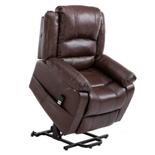 Homegear Air Leather Dual Motor Power Lift Electric Recliner Chair with Remote, Brown