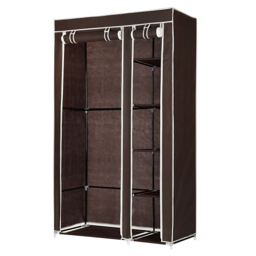 Homegear Double Fabric Wardrobe Dark Brown