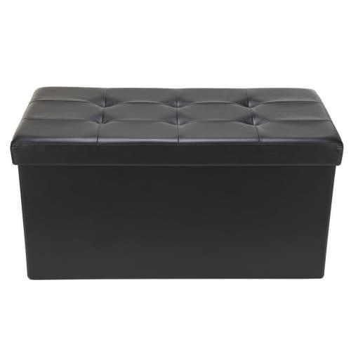 "Homegear 30"" Folding Storage Ottoman / Footstool Black"