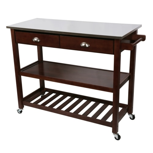 Homegear Open Storage Kitchen Cart with Shelves - Stainless Steel Top
