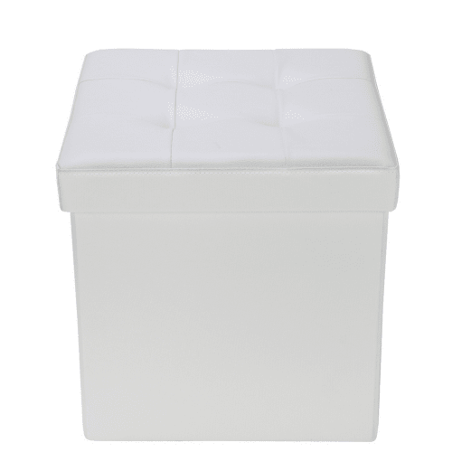 "Homegear 15"" Folding Storage Ottoman / Footstool Cream"