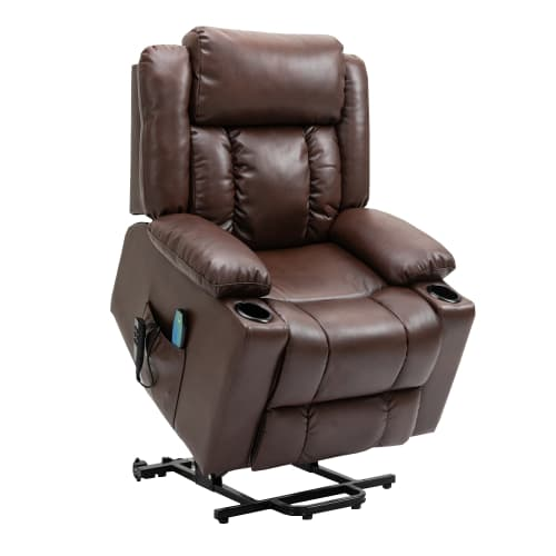 Homegear Air Leather Tri-Motor Reclining Lift Chair with Massage, Brown