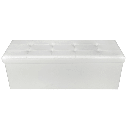 "Homegear 43.3"" Folding Storage Ottoman / Footstool Cream"