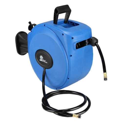 "Palm Springs 65ft Retractable Air Hose Reel - Wall Mounted with 180° Swivel - 65ft 3/8"" Hose 300 PSi"