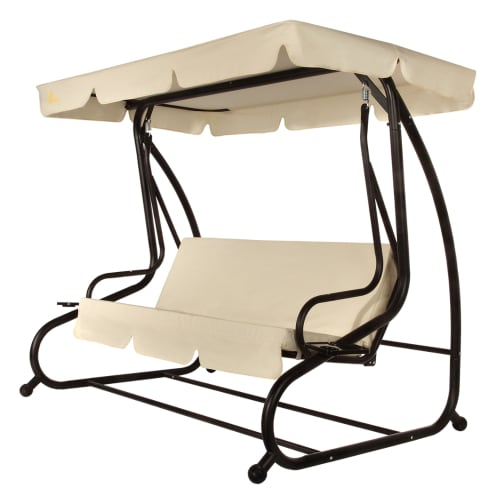 Palm Springs 3 Person Converting Patio Porch Swing Chair with Cushions / Futon - Cream