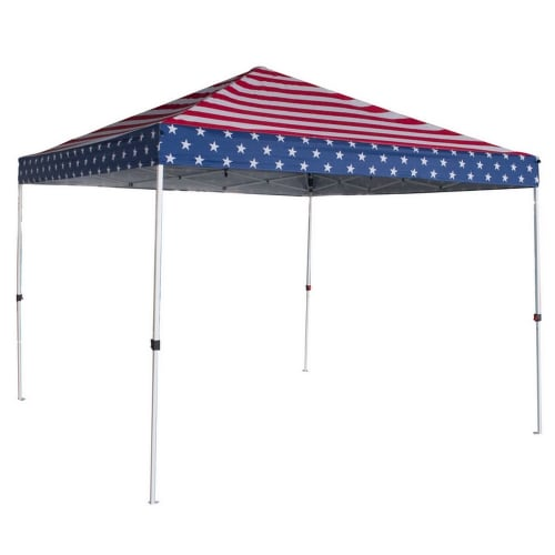 Palm Springs Canopy Tent Instant Pop-Up Shelter with Wheeled Carry Bag, 10x10ft - USA Flag