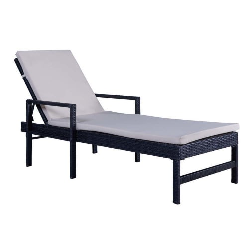 Palm Springs Wicker Style Sun Lounger Chaise Lounge with Cushion - 5 Levels of Adjustable Recline
