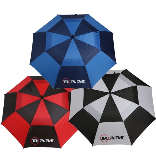"Ram Golf Umbrellas 3 Pack - Premium 60"" Double Canopy Golf Umbrellas - Blue, Red, Black/White"