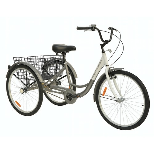 Royal London V2 Adult Tricycle 3 Wheeled Trike Bicycle w/ Wire Shopping Basket - Silver