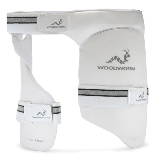 Woodworm Cricket Flame Select Dual Thigh Pad / Inner Thigh Lower Body Protector, Left Hand