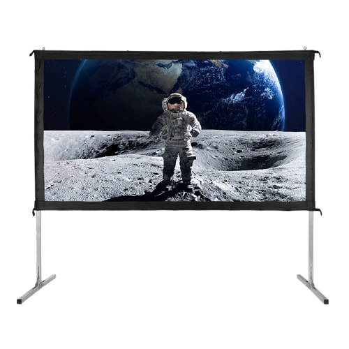"OPEN BOX Homegear Fast Fold Portable 110"" Projector Screen 16:9 HD for Indoor/Outdoor Use"