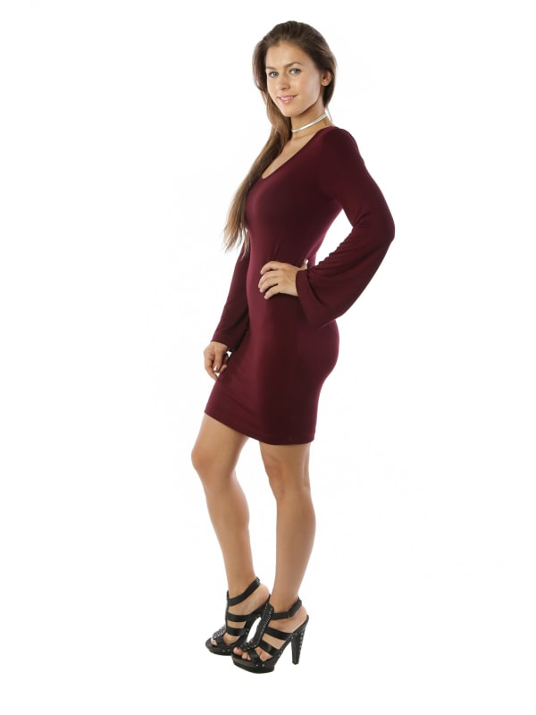 Midi Bodycon Trendy Fashion Dress w/ Scoop Neck Swing Top - MADE IN USA - All Sizes + Colors