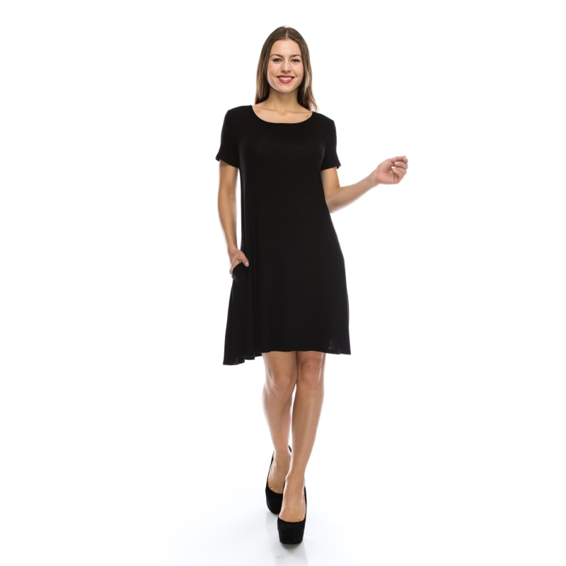 Casual Cute Tunic Shirt Dress Flowy Top w/ Pockets Short Sleeve Crew Neck - MADE IN USA - All Sizes + Colors